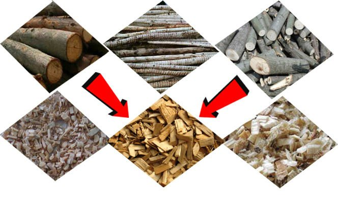 wood chips processed by wood chipper shredder